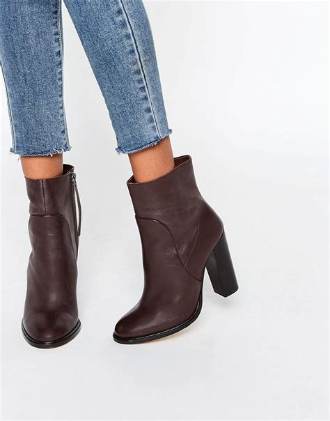 asos leather sock boots brown in brown lyst