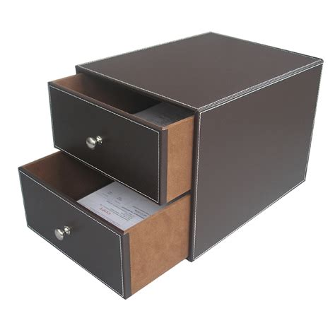 Brown 2 Drawer Leather Office Desk File Cabinet Organizer Office Desk With File Cabinet