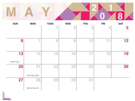 2018 May Calendar Printable