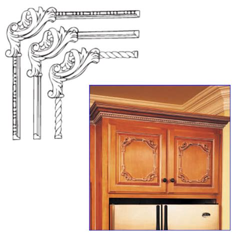 kitchen cabinet onlays decorative hardware clipped scroll corner onlays by white