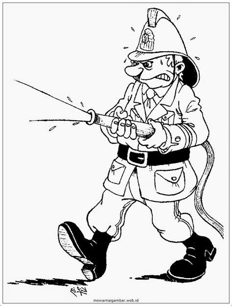 Mewarnai Gambar Profesi Pemadam Kebakaran | Mewarnai Gambar