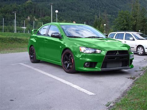 Green Mitsubishi Lancer Evolution X Mitsubishi