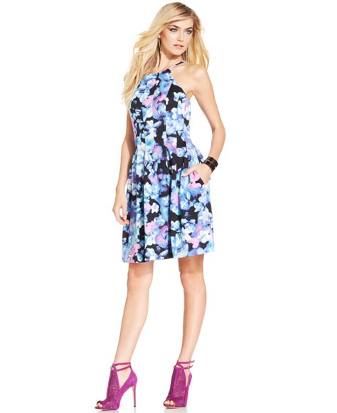Dress Halter Flowery Biru Murah floral print halter dress