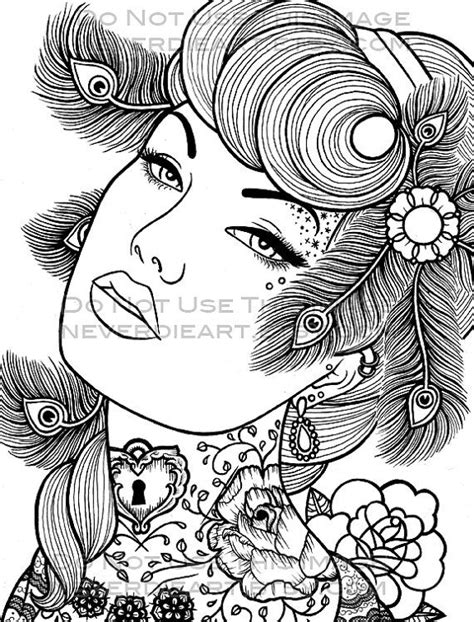 Digital Download Print Your Own Coloring Book Outline Page Pin Up Coloring Pages Free