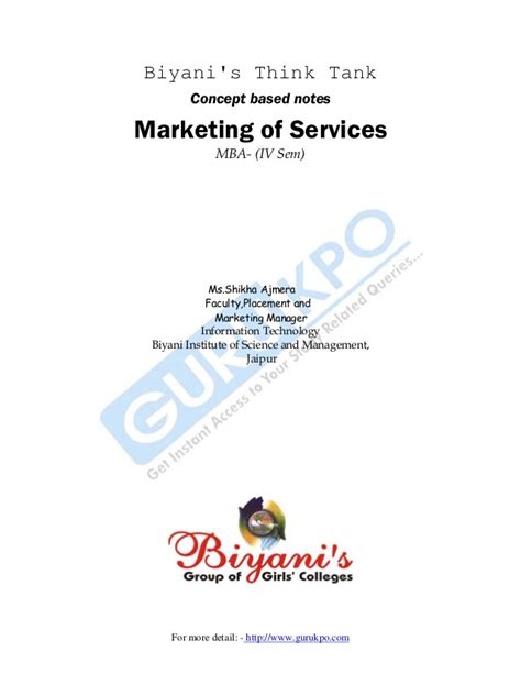 Mba Think Tank Gmat by Service Marketing