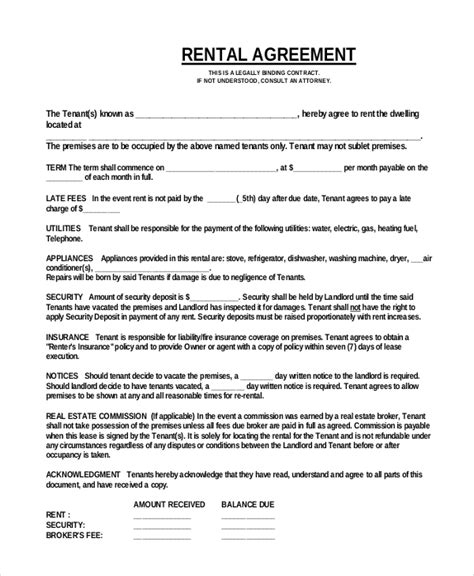 18 simple rental agreement templates free sle
