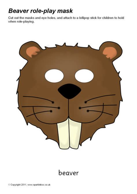 printable animal role play masks beaver role play masks sb6987 sparklebox