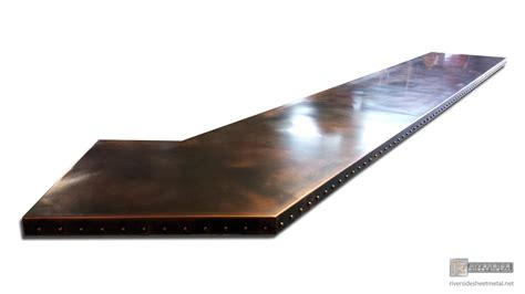 copper bar tops for sale custom copper bar table top with dark wash patina and rivets