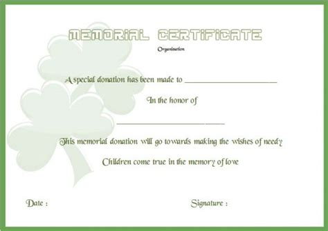 donation in memory of card template 22 legitimate donation certificate templates for your next