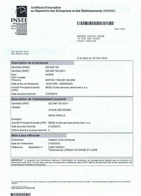 Modification Kbis Auto Entrepreneur by Comment Obtenir Un Num 233 Ro De Siret Pour Une Association