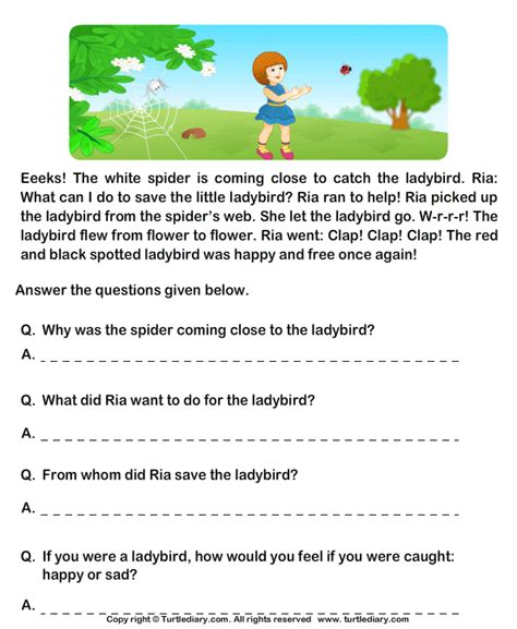 Comprehension Worksheets For Grade 1 Free by Reading Comprehension Stories Worksheet 32 Turtle Diary