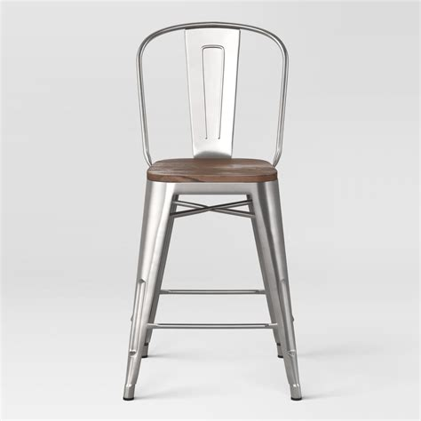 low cost carlisle 24 counter stool with wood seat