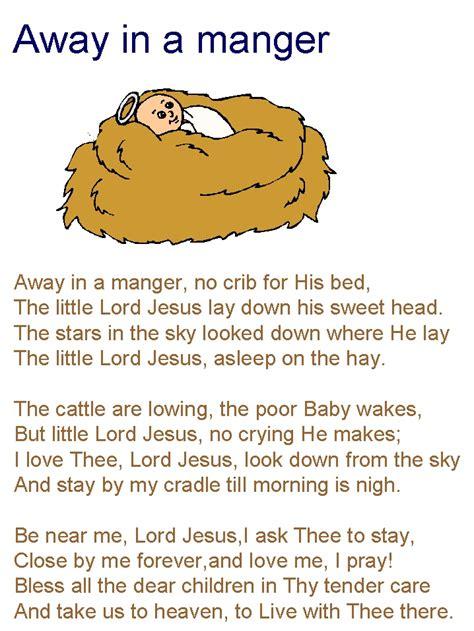 printable lyrics to away in the manger away in a manger lyrics nativity pinterest