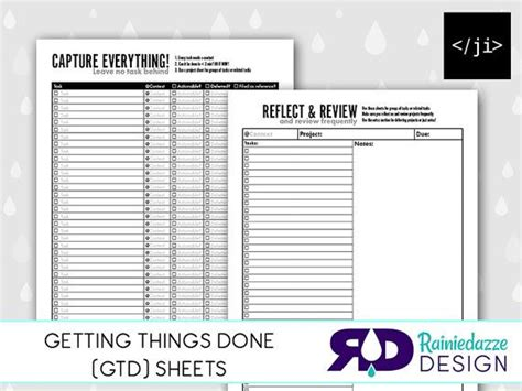 Getting Things Done Gtd Sheets Printable By Rainiedazze On Etsy Organization Getting Things Gtd Paper Planner Templates