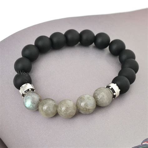 beaded bracelets chic sterling silver onyx labradorite beaded bracelets