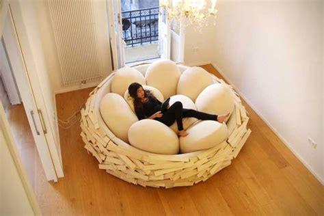 caw caw giant birds nest bed  egg pillows geekologie