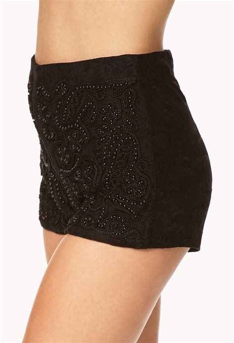 beaded shorts forever 21 beaded lace shorts in black lyst
