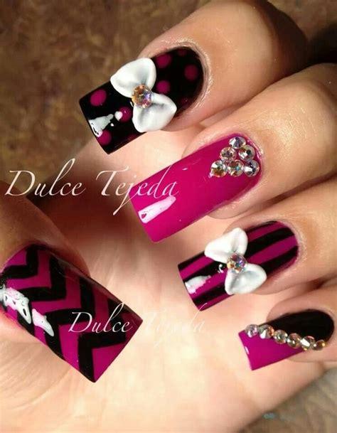 imagenes d uñas acrilicas en 3d preciosas u 241 as dise 241 o de dulce tejeda pink and black
