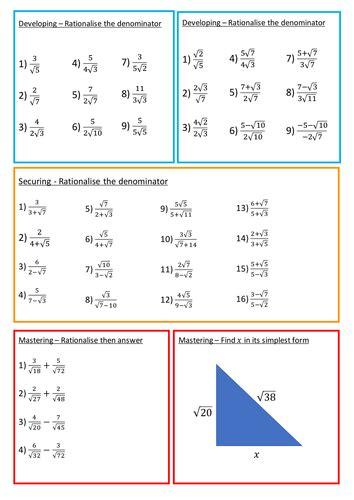 rationalising the denominator worksheet by brodieburton
