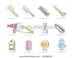 Hair Dryers And Straighteners On Airplanes hairdressing coiffure and make up icons clipart image