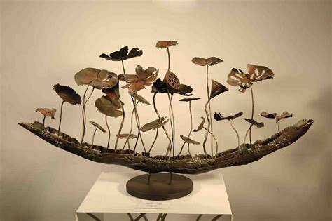 art and craft for home decor metal sculpture lotus pond hotel decoration home decor