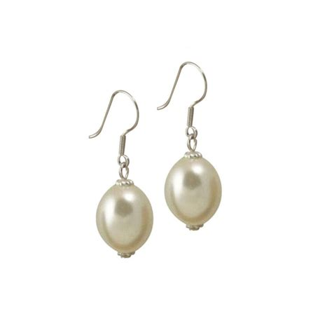 aspirations white oval shell pearl drop earrings