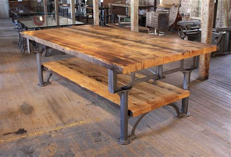 Kitchen Island Table With Stools vintage industrial cast iron leg amp reclaimed wood plank