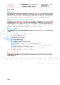 environmental management system template uk iso 14001 2015 managment system manual sle