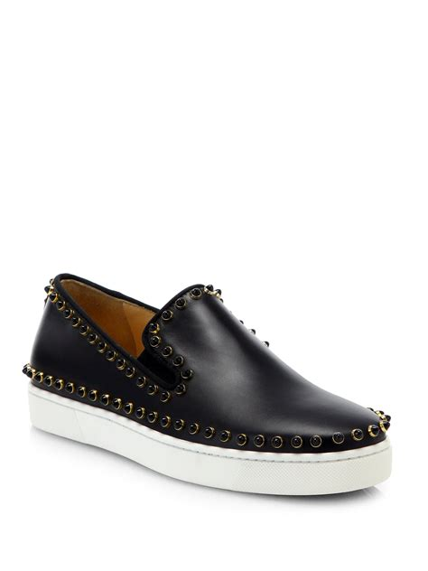 christian louboutin sneakers christian louboutin pik boat studded leather slipon