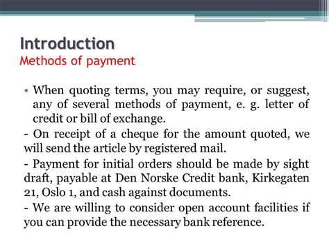Letter Of Credit Payable At Sight Commercial Correspondence Ppt
