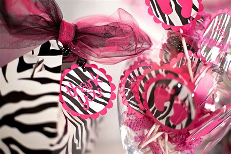 Pink And Zebra Baby Shower by Justbeccuz Pink Zebra Baby Shower Cupcake Toppers