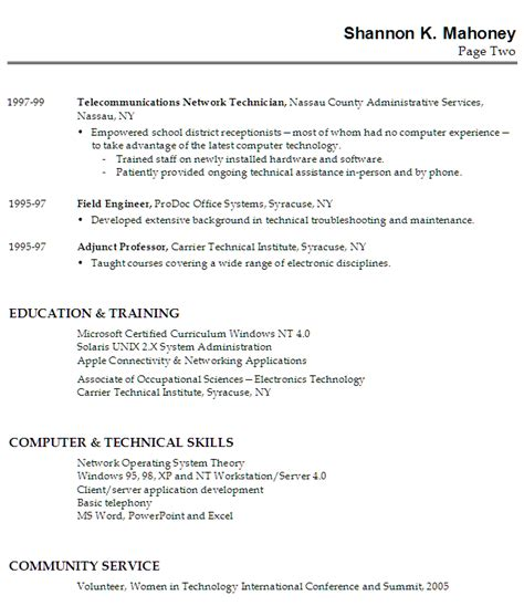 resume sle for a technical instructor susan ireland