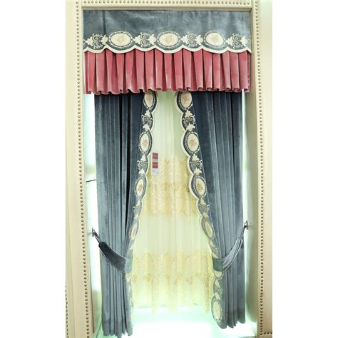 www curtain teal floral embroidery velvet thermal custom valance curtains