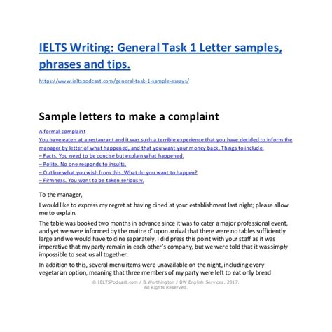 Complaint Letter Format Ielts ielts writing general task 1 sle letters and phrases
