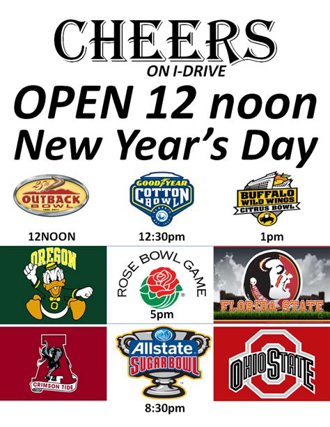 new year s day college football at cheers cheers sports