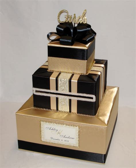 card box gold and black wedding card box