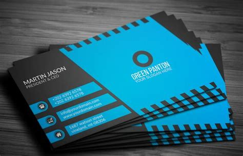 blue card template free blue corporate business card template vector