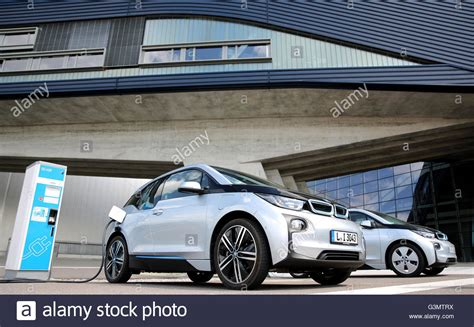 bmw factory two bmw i3 electric cars in front of the bmw factory in
