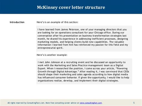 Introduction Letter To Consultant Company Mckinsey Cover Letter Sle