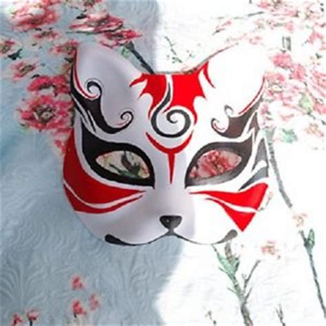 hand painted half face japanese fox mask kitsune cosplay