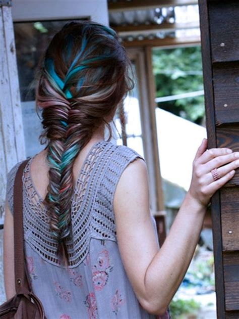pictures of blue hair braided into brown hair highlights for brown hair glam bistro fishtail braid
