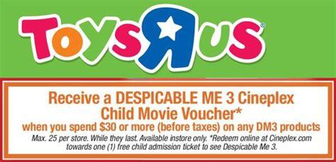 cineplex voucher toys r us cineplex canada offers receive a free