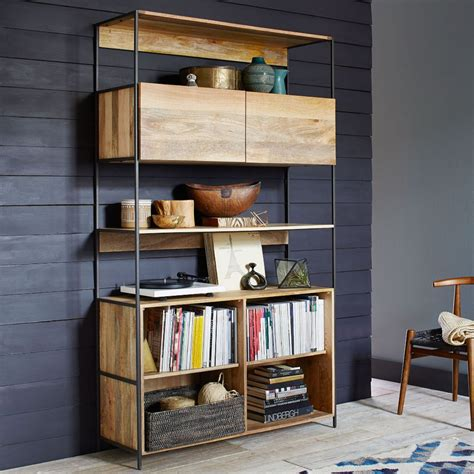 Bookcase With Closed Storage Industrial Modular 124 Cm Open Closed Storage West Elm Uk