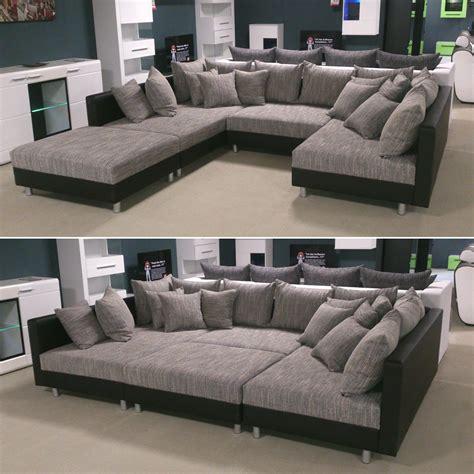 wohnlandschaft claudia ecksofa couch xxl sofa mit ottomane und hocker ebay