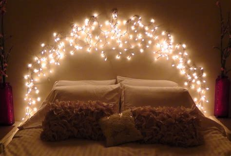 decorate bedroom with lights diy icicle light faux headboard