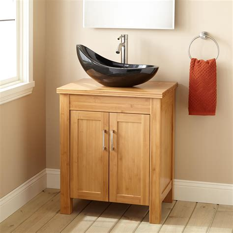 narrow depth bathroom vanities 24 quot narrow depth bashe bamboo vessel sink vanity