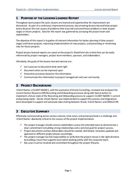 lessons learned report sle lessons learned report