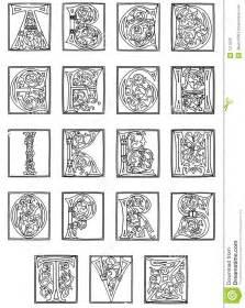 15th century alphabet from the golden bible stock photos