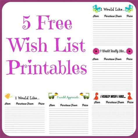 Free Wish List Printables 5 Designs To Pick From Farmer S Wife Rambles Wish List Template