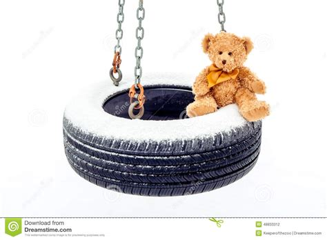 stuffed animal swing stuffed bear on tire swing stock photo image 48833312
